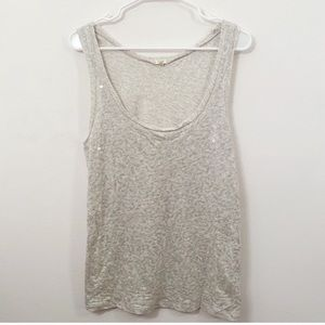 4/25$ J.CREW  Gray Sequin Raw Hem Tank Top…